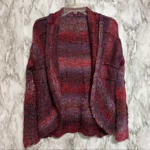 Prana Red tones open front cardigan